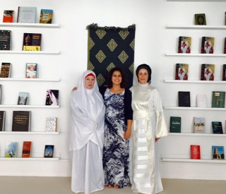 Saliha Maria Fetteh, center, who delivered the sermon, and Sherin Khankan, right, the founder of the mosque, with Ozlem Cekic, a Danish politician who attend the Friday prayer.